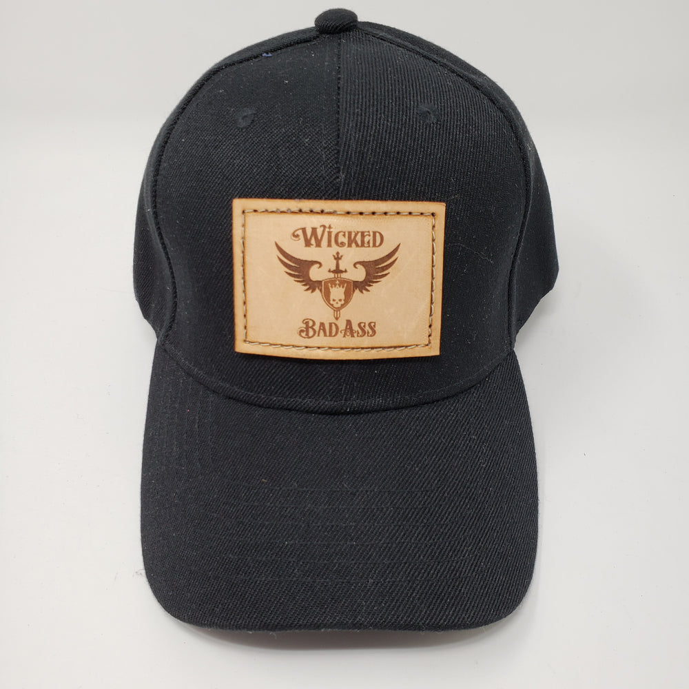 Jet Black Wicked Bad Ass Trucker Hat - Ella Leather
