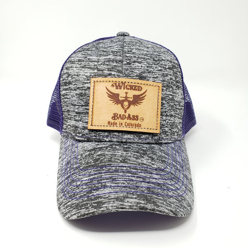 Wicked Bad Ass Hat Purple and Gray. - Ella Leather