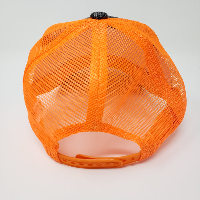 Mesh Trucker Hat Orange and Grey - Ella Leather