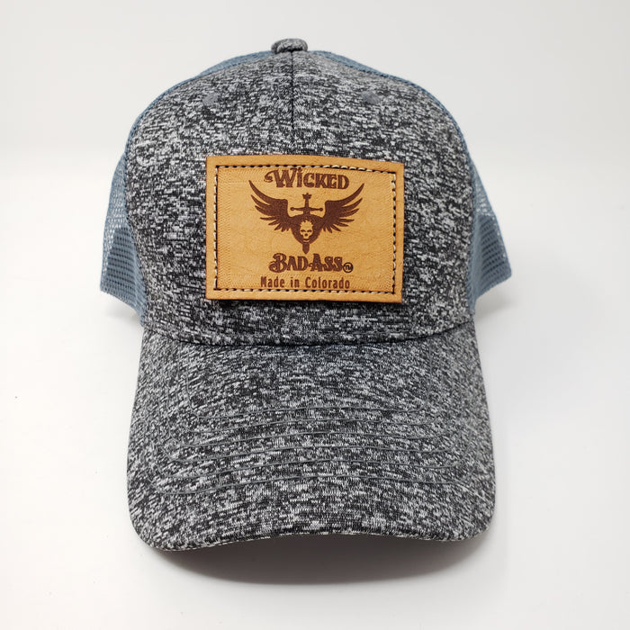 Wicked Bad Ass Mesh Trucker Hat Black and Grey - Ella Leather