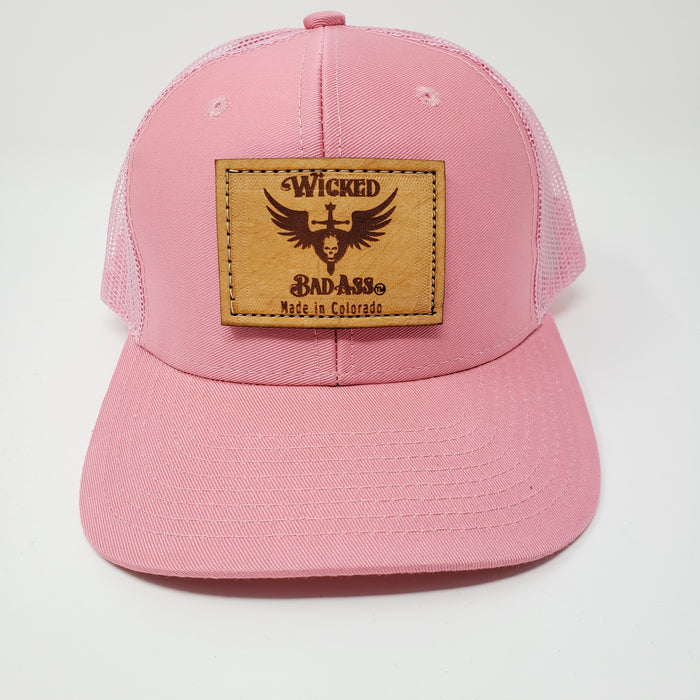 Wear Pink Wicked Bad Ass Pink Mesh Trucker Hat  Breast Cancer donation to Allyson Whitney Foundation - Ella Leather