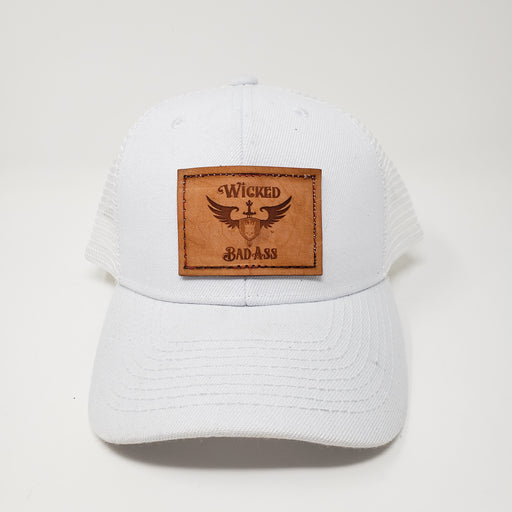 Wicked Bad Ass Hat  Mesh White Trucker Style - Ella Leather
