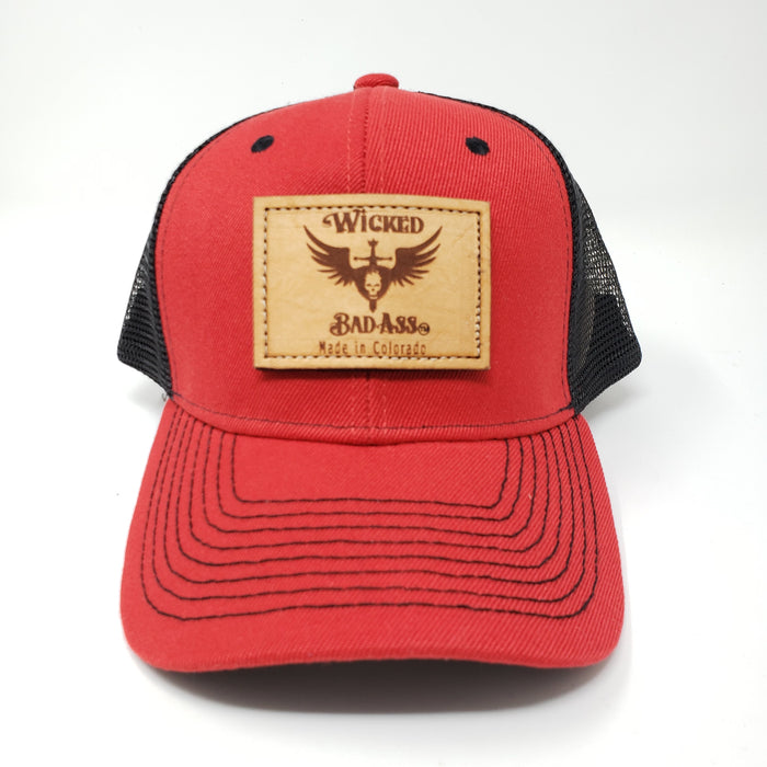 Wicked Bad Ass Red and Black Trucker Hat - Ella Leather