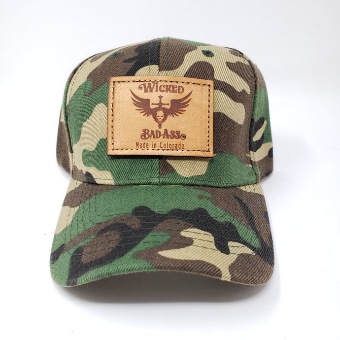 Wicked Bad Ass Camo Trucker Hat - Ella Leather