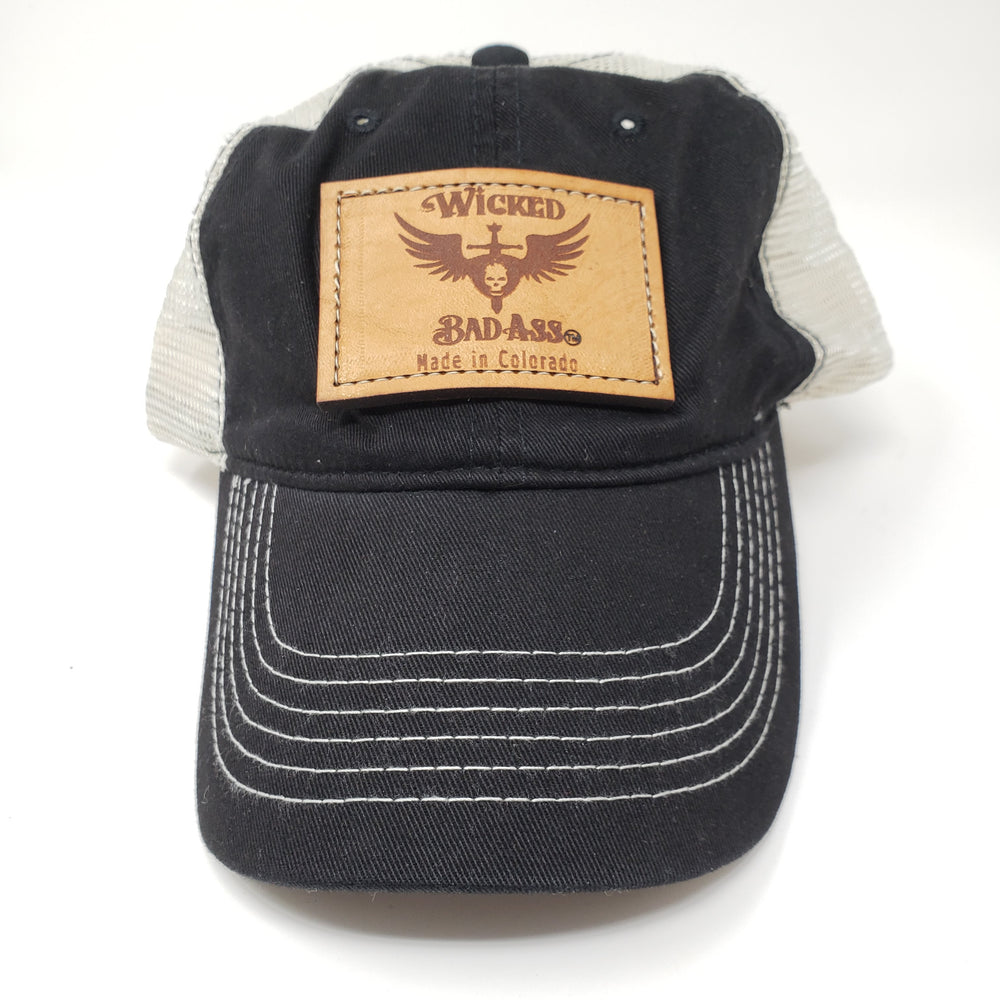 Wicked Bad Ass Baseball Hat Black with White Mesh - Ella Leather