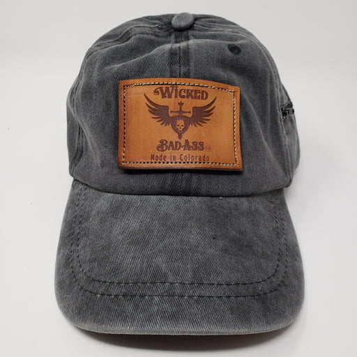 Wicked bad Ass Cotton Baseball Hat Grey - Ella Leather