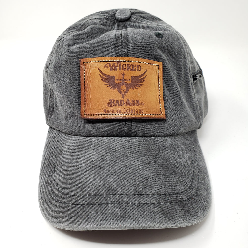 Wicked bad Ass Baseball Hat Grey - Ella Leather