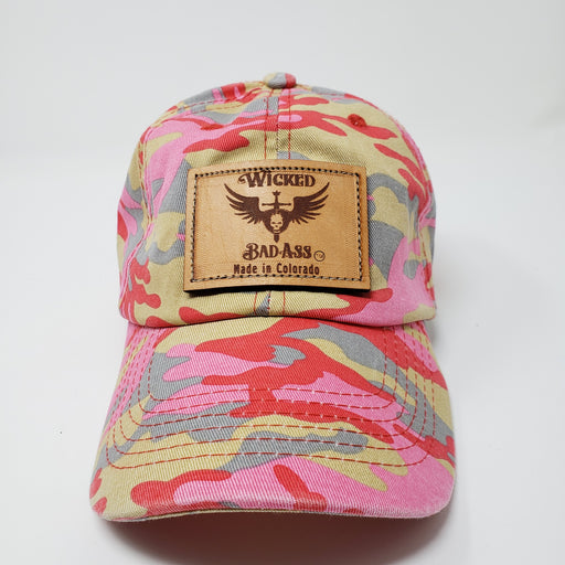 Camo Baseball Cap, Low Profile - Ella Leather