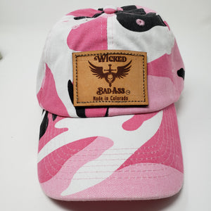 Breast Cancer Awareness Hat for Allyson Whitney Foundation- Wear PInk and Be Wicked Bad Ass - Ella Leather