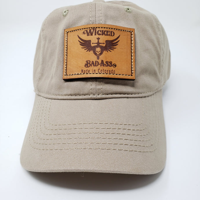 Wicked bad Ass Base Ball Low Profile Khaki Hat - Ella Leather
