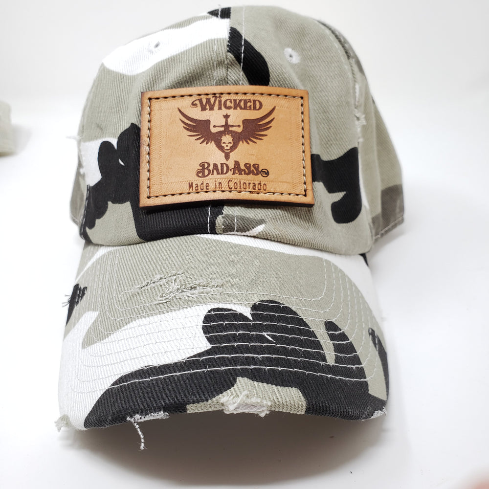 Low Profile Distressed Grey Camo Hat - Ella Leather