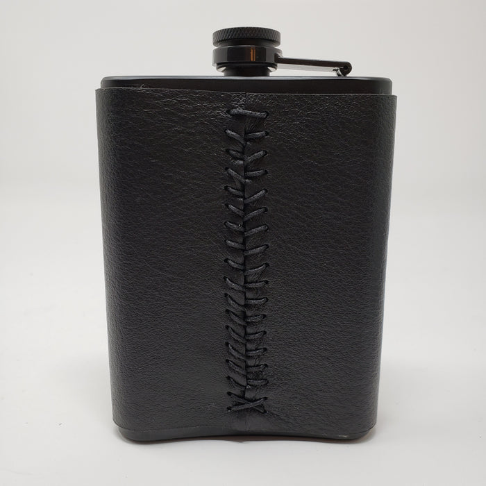 Laser Etched Black Leather Flask - Ella Leather