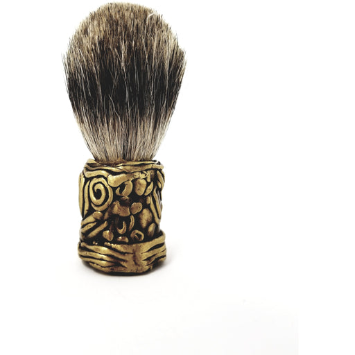 Wicked Bad Ass Free Form Brass Badger Shaving Brush - Ella Leather