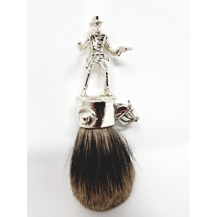 Wicked Bad Ass John Wayne Cowboy Badger Brush Silver - Ella Leather