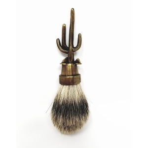 Artisan Silver Tip Cactus Best Badger Shaving Brush -Lost Wax Cast - Ella Leather