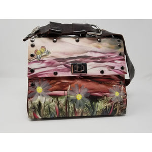 Overlay Purse-Daisy Print Purse Handmade by US Artist Susan Provda for Ella Leather - Ella Leather