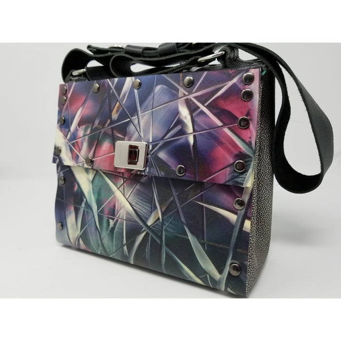 The Blue Bar Encaustic Overlay Purse-Handmade US Artist Susan Provda for Ella Leather - Ella Leather