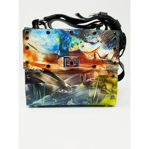 After the Storm Encaustic Overlay Print Purse, Handmade US Artist Susan Provda for Ella Leather , Denver, Colorado - Ella Leather