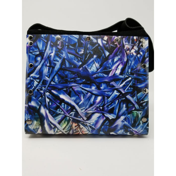 Handmade Artisan Susan Provda Deep Blue Sea Encaustic Print Purse - Ella Leather