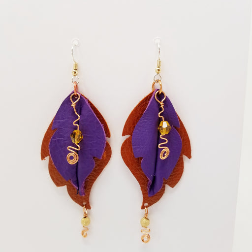 Handmade Leather Leaf Earrings, Red and Purple - Ella Leather