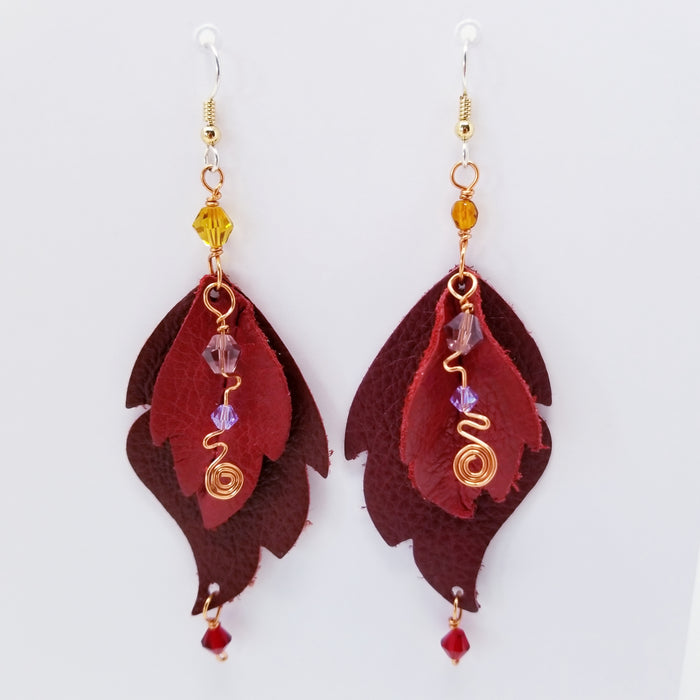 Shades of Red Leather Leaf Earrings, Handmade in Denver - Ella Leather