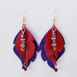 Red and Purple Leather Leaf Earrings. - Ella Leather
