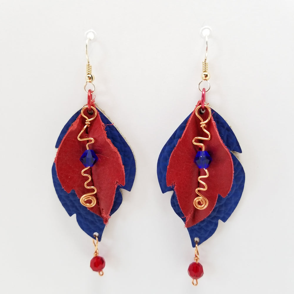 Leather Leaf Earring Red and Blue - Ella Leather