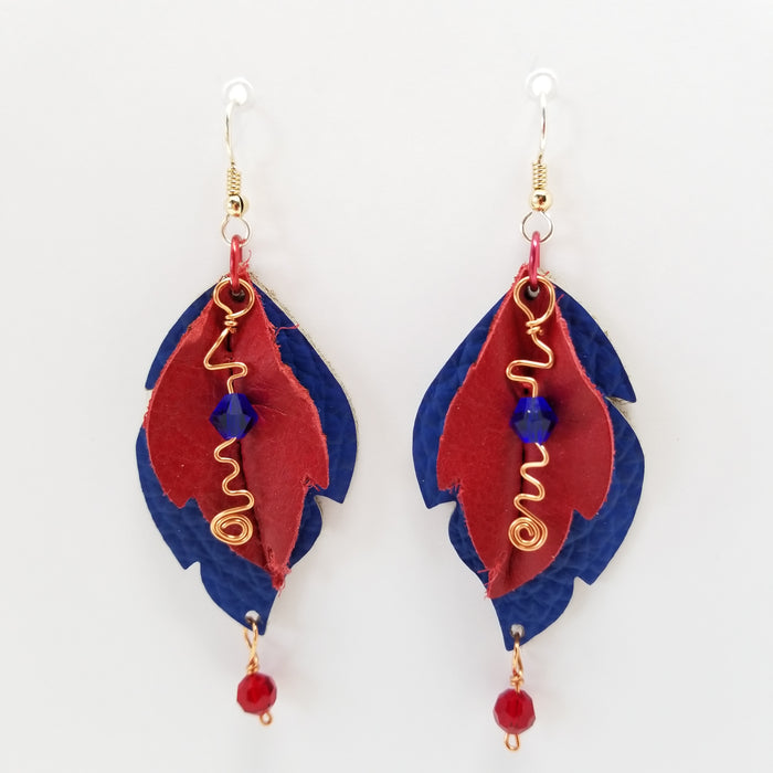 Handmade in the USA Leather Leaf Earrings Red and Blue - Ella Leather