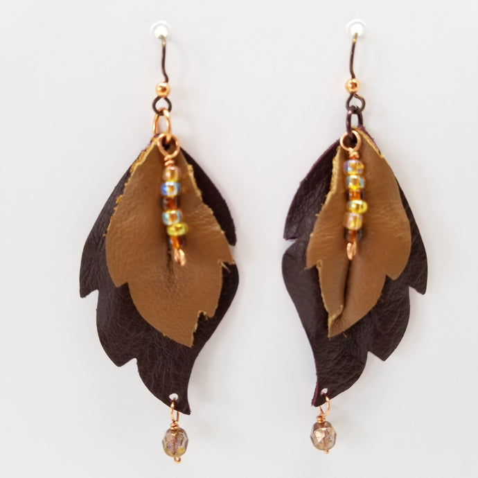 Leather Leaf Earrings Burgundy and Tan - Ella Leather