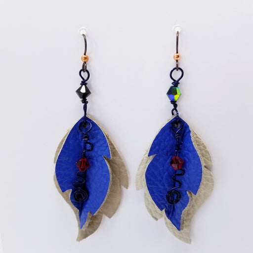 Handmade in the USA, Leather Leaf Earrings of Blue and White - Ella Leather