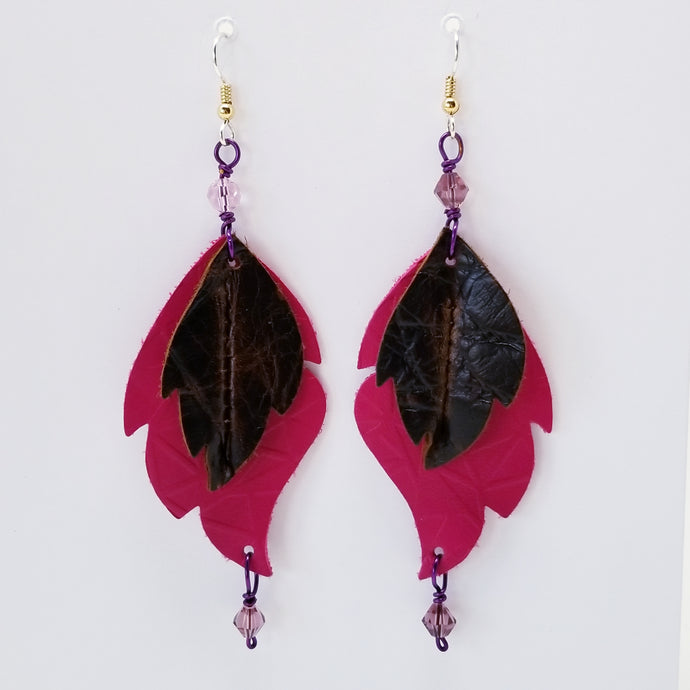 Leather Leaf Earrings Brown and Hot Pink - Ella Leather