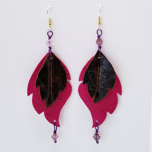 Rugged Chick Leather Leaf Earrings in Brown and Hot Pink - Ella Leather