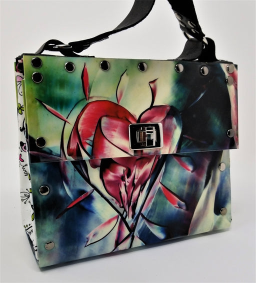 Unique One of a Kind Encaustic Heart Purse - Ella Leather