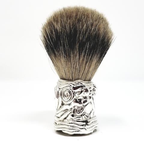 Silver Free Form Badger Brush - Ella Leather