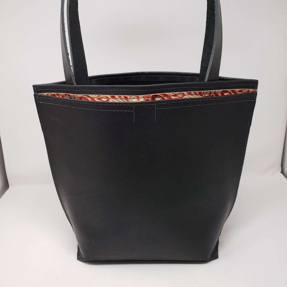 Artisan Leather Tote with Outside Pocket - Ella Leather