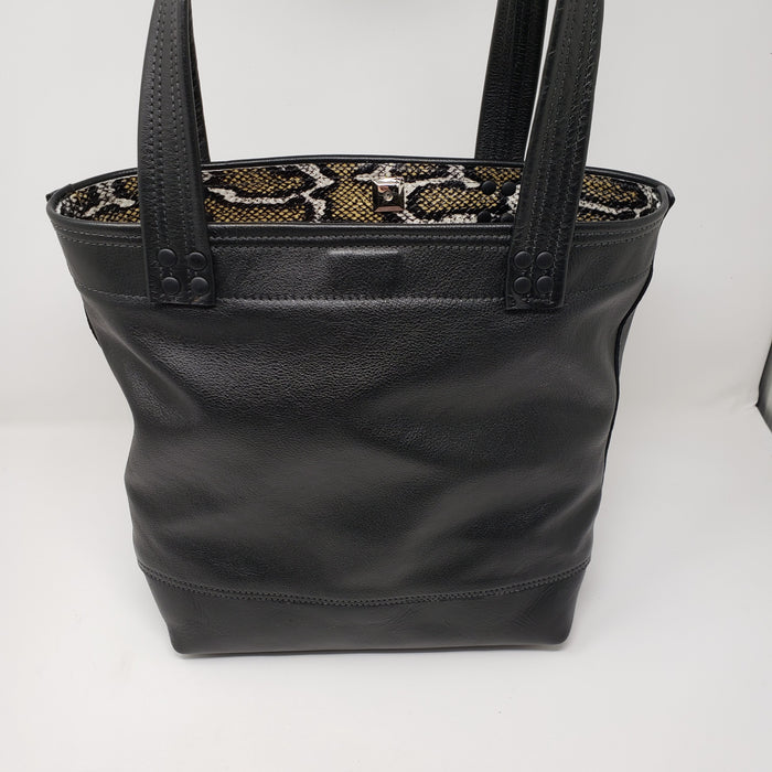 Artisan Black Leather Tote - Ella Leather