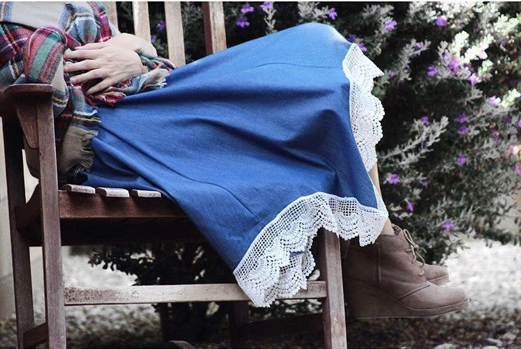 Handkerchief Hem Denim Skirt