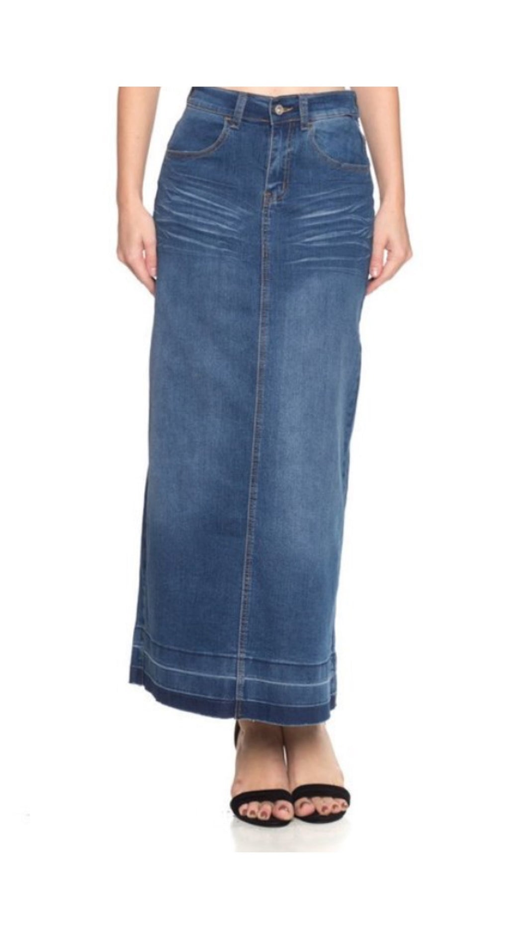 The Perfect Long Jean Skirt • Indigo Wash