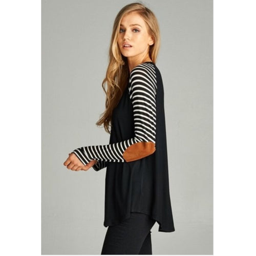 Jayda Top w Striped Sleeves & Elbow Patches