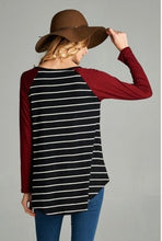 Monica Striped Top Black