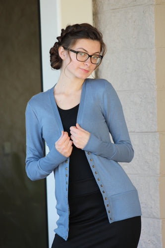 Everyday Cardigan - Titanium Blue *Available in Plus Size*