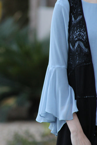 Black Duster with Lace Detail at Top