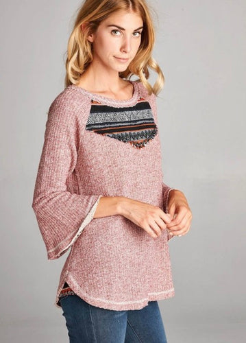 Southwest Vibes Top- Bell Sleeves