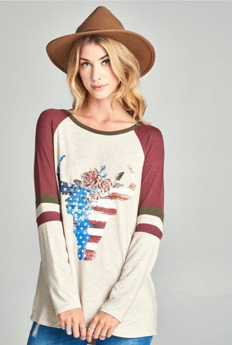 America Long Sleeve Top S-3X