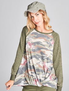 Camo Long Sleeve Top S-3X