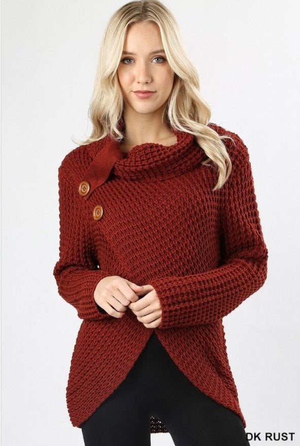 Cable Knit Criss Cross Sweater-Rust