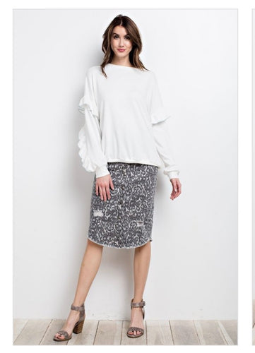Snow Leopard Denim Button Up Skirt