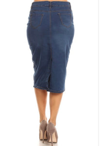 **SALE** One Button Stretch Denim Skirt