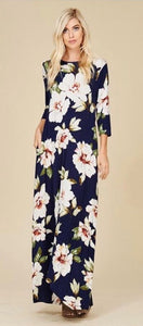 Jenna Floral Maxi Dress Navy w 3/4 Sleeves
