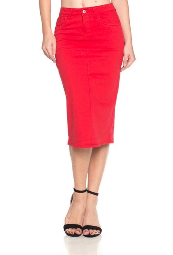 Twill Midi Skirt - Red